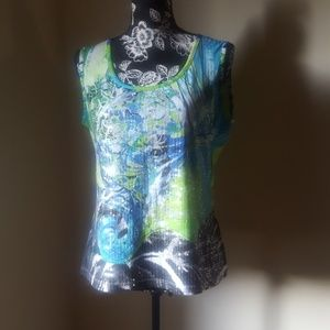 Tribal Multi Color Sleeveless Top with Sequin